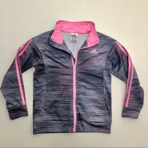 Adidas Pink And Gray Full Zip Jacket Size 6